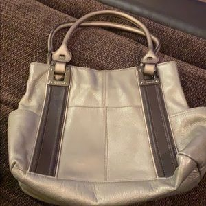 Tignanello Metallic Grey Leather Purse